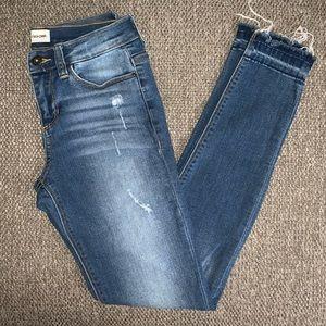 EUC Sneak Peek raw hem skinny jeans